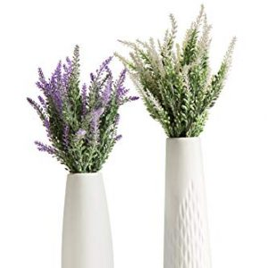 Artificial Lavender Flowers Bouquet with Special White Ceramic Vases for Home,