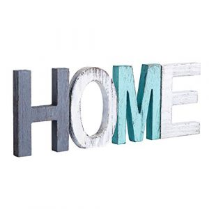 Y&Me Rustic Wood Home Sign, Decorative Wooden Block Word Signs,